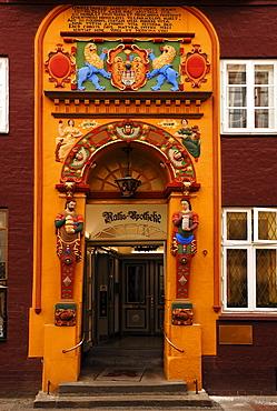Colourful Renaissace entrance portal of the Raths-Apotheke pharmacy, Lueneburg, Lower Saxony, Germany, Europe