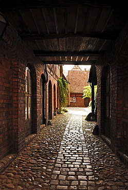 Old courtyard in the old town, Lueneburg, Lower Saxony, Germany, Europe