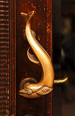Dolphin as a decorative door handle on a commercial building, Hamburg, Germany, Europe