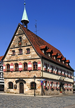 The old town hall at the market square, Lauf an der Pegnitz, Middle Franconia, Bavaria, Germany, Europe