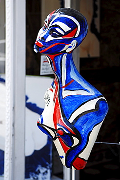 Painted figure in front of a gallery, Erlangen, Middle Franconia, Bavaria, Germany, Europe