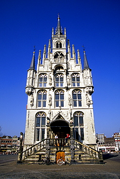Stadhuis, the gothic town hall on the market square, main entrance, Gouda, province of South Holland, Zuid-Holland, Netherlands, Benelux, Europe