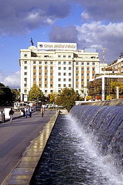 Gran Melia Fenix Hotel, fountain at the Centro Cultural de la Villa de Madrid, Plaza de Colon, Madrid, Spain, Europe