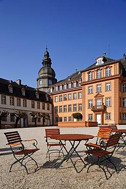 """Patio of restaurant """"Schloss-Schaenke"""", castle square, Berleburg Castle, Bad Berleburg, district of Siegen-Wittgenstein, Rothaarsteig, North Rhine-Westphalia, Germany, Europe"""