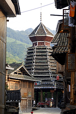 Drum Tower of the Dong minority village Zhaoxing in Guizhou, China, Asia