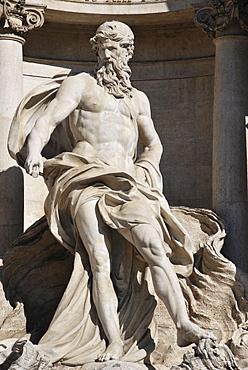 Male figure from the Fontana di Trevi, Trevi Fountain, historic city centre, Rome, Italy, Europe