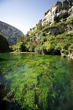 Sorgue River close to its source, near Fontaine de Vaucluse, Provence, France, Europe