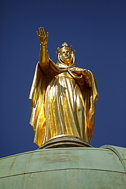 Golden statue on the Ancienne Cathedrale Ste-Anne Church in Apt En Provence, France, Europe