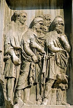Relief at the Arch of Septimius Severus, Forum Romanum, Rome, Lazio, Italy, Europe