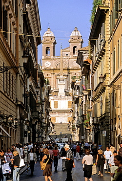 Trinita dei Monti Church, Spanish Steps, Via Condotti, Rome, Lazio, Italy, Europe