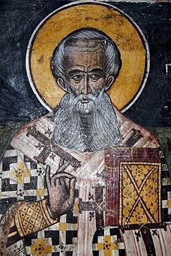 Greek Orthodox Christianity, ancient Byzantine frescoes, mural of Bishop Nicholas, Church of Agios Nikolaos in Petra, Lesbos, Aegean Sea, Greece, Europe