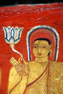 Buddhism, ancient wall painting, Buddha with nimbus holding lotus flower in his hand, Mulgirigala Temple, Mulkirigala, Ceylon, Sri Lanka, South Asia, Asia