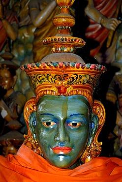 Buddhist figure with a blue face in cave temple, Mulgirigala Temple, Mulkirigala Vihara, Ceylon, Sri Lanka, South Asia, Asia