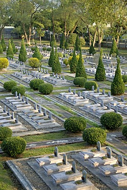 War graves, many tombstones of fallen Viet Minh soldiers, military cemetery, Dien Bien Phu, Vietnam, Southeast Asia, Asia
