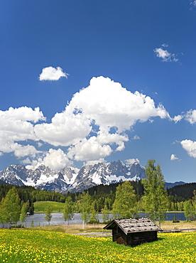 Schwarzsee lake near Kitzbuehel, Wilder Kaiser mountain, Tyrol, Austria, Europe