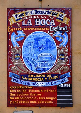 Historic advertising sign in Calle Necochea in El Caminito, La Boca district, Buenos Aires, Argentina