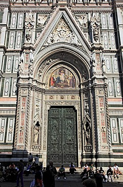Main portal of Florence Cathedral, Basilica di Santa Maria del Fiore, Firenze, Florence, Tuscany, Italy, Europe