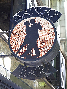 Advertising sign of a tango bar in Buenos Aires, Argentina, South America