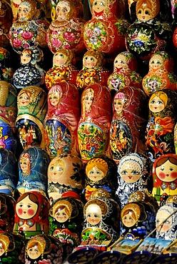 Matryoshka dolls or Russian nested dolls, street market, Moscow, Russia