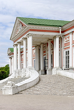 Main entrance to the great palace of the estate Kuskovo, Moscow, Russia