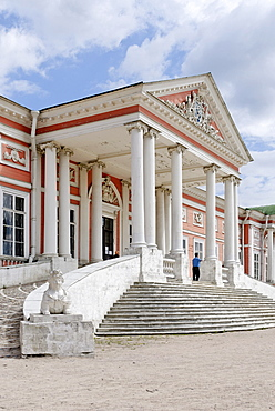 Main entrance to the great palace, Kuskovo estate, summer residence of the Sheremetev family, Moscow, Russia