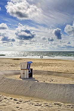 Sand castle with roofed wicker beach chair, Kampen, Sylt, North Frisia, Schleswig-Holstein, Germany, Europe