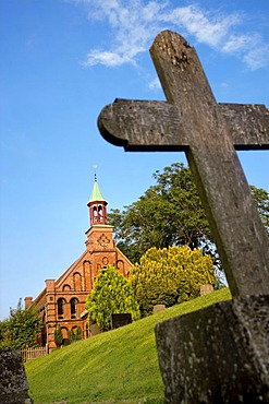 Cross in a cemetery, Old Catholic Church in the village of Sueden, Nordstrand, North Frisia, Schleswig-Holstein, Germany, Europe