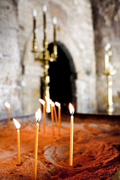 Sacrificial candles in the church of Panagia Angeloktistos, built from the angels, UNESCO World Heritage Site, Kiti, Cyprus, Greek section, Southern Europe, Europe