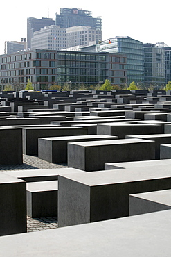 Memorial to the Murdered Jews of Europe, Holocaust memorial, with view to the buildings on the Potsdamer Platz square, Berlin, Germany, Europe