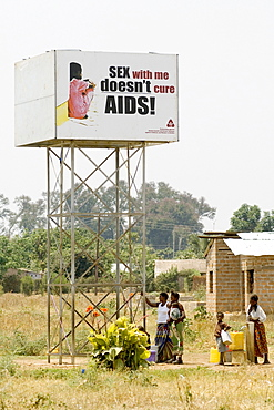 "HIV/AIDS campain creating awareness concerning the myth of a ""virgin cure"", Magoye, Mazabuka, Zambia, Africa"