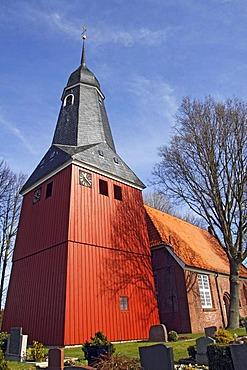 Historic St. Nicolai-Kirche church in Beidenfleth, district Steinburg, Schleswig-Holstein, Germany,