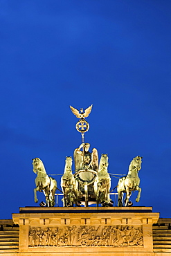 Brandenburg Gate at night, Quadriga, Berlin, Germany, Europe