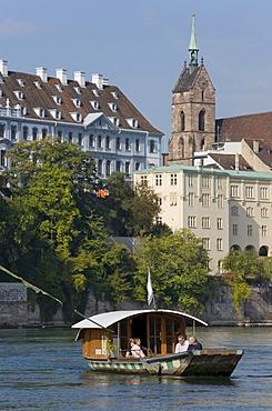 Muensterfaehre Ferry crossing Rhine River, Rhine banks, Basel, Switzerland