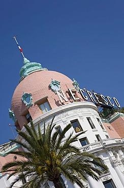 Negresco Hotel, luxury hotel, palm tree, Promenade des Anglais, Nice, Cote d'Azur, France