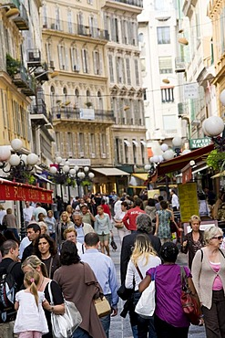 People in the pedestrian area, Rue Massena, Nice, Cote d'Azur, France