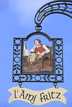 Tavern sign, restaurant L'Ami Fritz, Ottrott-le-Haut, Alsace, France, Europe