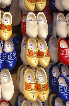 Various wooden shoes, souvenirs, at a market in Norden, the North Sea coast, Lower Saxony, Germany, Europe