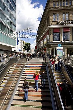 Schildergasse at Neumarkt, shopping street, passers-by, shopping, shops, escalator, Cologne, North Rhine-Westphalia, Germany, Europe