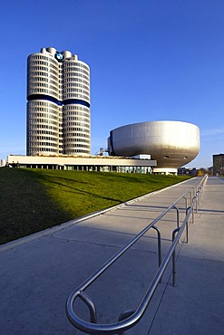 BMW towers, four cylinders and museum, Munich, Bavaria, Germany, Europe