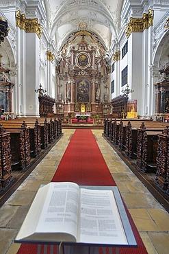 Interior view of St. Ignatius church, historic cathedral, in Linz, Upper Austria, Europe