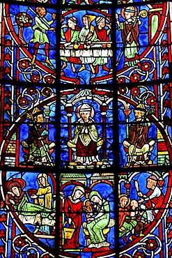 Colourful stained glass window, church window, depiction of everyday situations from the middle ages, Saint Etienne Cathedral, Bourges, Centre, France, Europe