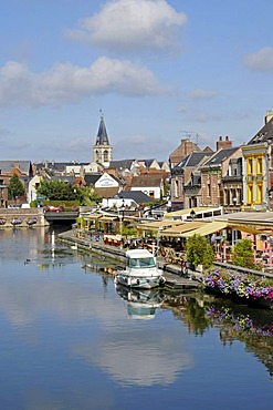 Canal, street cafe, restaurant, boat, Saint Leu quarter, Amiens, Picardie, France, Europe