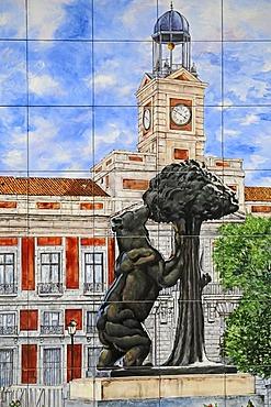 Spanish tiles, azulejos, representation of the bear and the mulberry tree landmark, el ozo y el madrono, Madrid, Spain, Europe