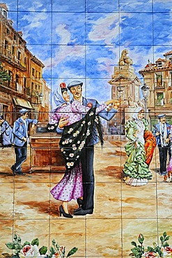 Spanish tiles, azulejos, representation of a couple dancing in a square, Madrid, Spain, Europe