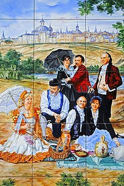 Spanish tiles, azulejos, representation of a joyful group having a picnic in a garden, Madrid, Spain, Europe