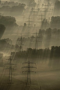 Aerial view of Scholven and Buer, autumn, shortly after sunrise, Gelsenkirchen, North Rhine-Westphalia, Germany, Europe