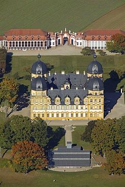 Aerial view, Schloss Seehof Palace, Bamberg, Franconia, Bavaria, Germany, Europe