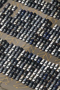 Aerial view of the delivery carpark for new Zafira vehicles at the Opel factory, Bochum, Ruhr Area, North Rhine-Westphalia, Germany, Europe