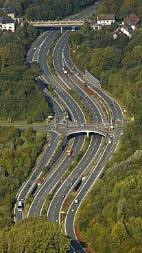 Aerial view of Oviedo-Ring urban expressway, Bochum, Ruhr Area, North Rhine-Westphalia, Germany, Europe