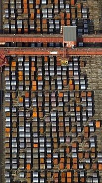 Aerial photograph, rolls of steel in Bochum AG EBG steelworks, Bochum, Ruhr Area, North Rhine-Westphalia, Germany, Europe
